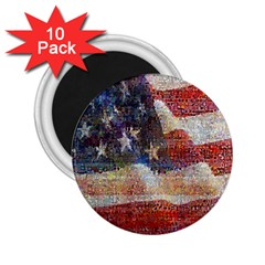 Grunge United State Of Art Flag 2 25  Magnets (10 Pack)  by Nexatart