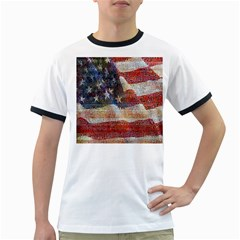 Grunge United State Of Art Flag Ringer T Shirts