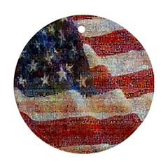 Grunge United State Of Art Flag Round Ornament (two Sides)