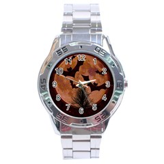 Halloween Card Scrapbook Page Stainless Steel Analogue Watch by Nexatart