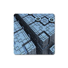 Grid Maths Geometry Design Pattern Square Magnet by Nexatart