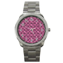 Floral Pink Collage Pattern Sport Metal Watch by dflcprints