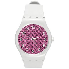 Floral Pink Collage Pattern Round Plastic Sport Watch (m) by dflcprints