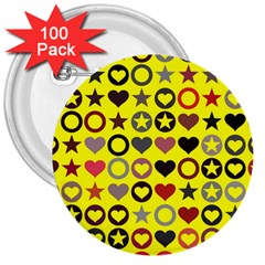 Heart Circle Star 3  Buttons (100 Pack)  by Nexatart