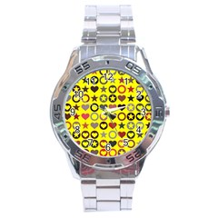 Heart Circle Star Stainless Steel Analogue Watch by Nexatart