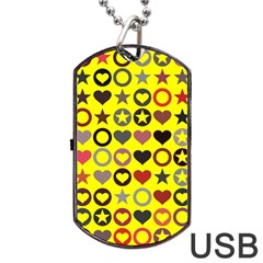 Heart Circle Star Dog Tag Usb Flash (one Side) by Nexatart
