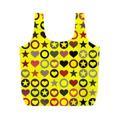 Heart Circle Star Full Print Recycle Bags (m)  by Nexatart