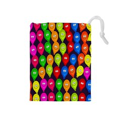 Happy Balloons Drawstring Pouches (medium)  by Nexatart