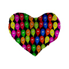 Happy Balloons Standard 16  Premium Flano Heart Shape Cushions by Nexatart