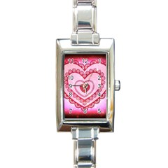 Heart Background Lace Rectangle Italian Charm Watch by Nexatart