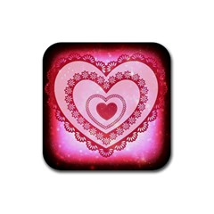 Heart Background Lace Rubber Coaster (square)  by Nexatart