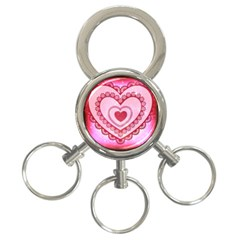 Heart Background Lace 3 Ring Key Chains