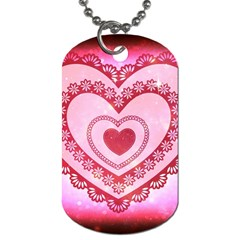 Heart Background Lace Dog Tag (one Side) by Nexatart