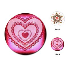 Heart Background Lace Playing Cards (round)  by Nexatart