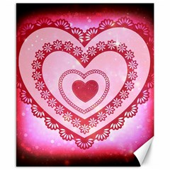Heart Background Lace Canvas 8  X 10  by Nexatart