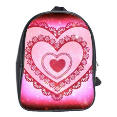Heart Background Lace School Bags(large)