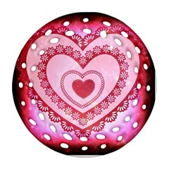 Heart Background Lace Round Filigree Ornament (two Sides) by Nexatart