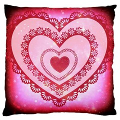 Heart Background Lace Large Cushion Case (two Sides)