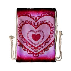Heart Background Lace Drawstring Bag (small) by Nexatart
