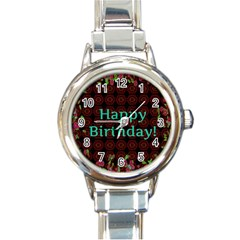 Happy Birthday! Round Italian Charm Watch