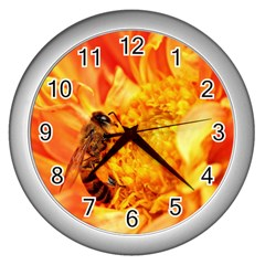 Honey Bee Takes Nectar Wall Clocks (silver)