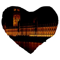Houses Of Parliament Large 19  Premium Flano Heart Shape Cushions by Nexatart