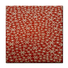 Holiday Snow Snowflakes Red Tile Coasters