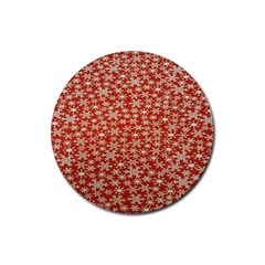 Holiday Snow Snowflakes Red Rubber Coaster (round)  by Nexatart