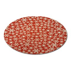Holiday Snow Snowflakes Red Oval Magnet