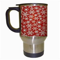 Holiday Snow Snowflakes Red Travel Mugs (white) by Nexatart