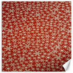 Holiday Snow Snowflakes Red Canvas 16  X 16