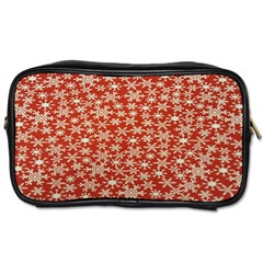 Holiday Snow Snowflakes Red Toiletries Bags 2 Side by Nexatart