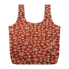 Holiday Snow Snowflakes Red Full Print Recycle Bags (l)  by Nexatart