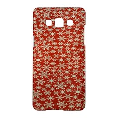 Holiday Snow Snowflakes Red Samsung Galaxy A5 Hardshell Case  by Nexatart