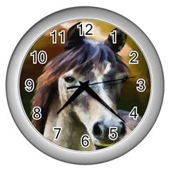Horse Horse Portrait Animal Wall Clocks (silver)