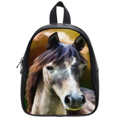 Horse Horse Portrait Animal School Bags (small)  by Nexatart