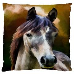Horse Horse Portrait Animal Standard Flano Cushion Case (one Side)
