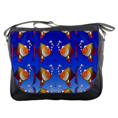 Illustration Fish Pattern Messenger Bags