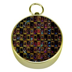 Kaleidoscope Pattern Abstract Art Gold Compasses by Nexatart