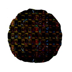Kaleidoscope Pattern Abstract Art Standard 15  Premium Flano Round Cushions by Nexatart
