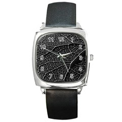 Leaf Pattern  B&w Square Metal Watch by Nexatart