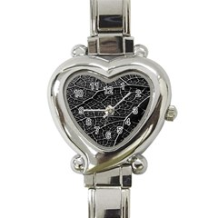 Leaf Pattern  B&w Heart Italian Charm Watch