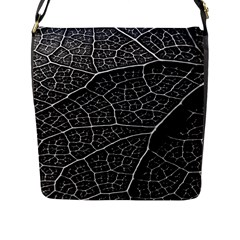 Leaf Pattern  B&w Flap Messenger Bag (l)  by Nexatart