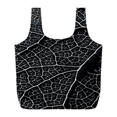 Leaf Pattern  B&w Full Print Recycle Bags (l)