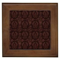 Leaf Pattern Green Wallpaper Tea Leather Framed Tiles by Nexatart