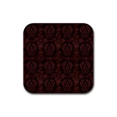 Leaf Pattern Green Wallpaper Tea Leather Rubber Coaster (square)  by Nexatart