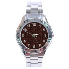 Leaf Pattern Green Wallpaper Tea Leather Stainless Steel Analogue Watch