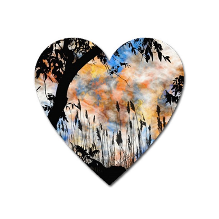 Landscape Sunset Sky Summer Heart Magnet