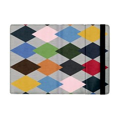 Leather Colorful Diamond Design Apple iPad Mini Flip Case by Nexatart
