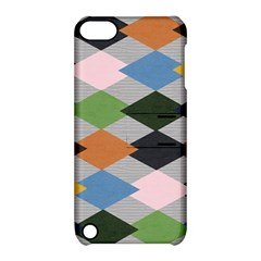 Leather Colorful Diamond Design Apple Ipod Touch 5 Hardshell Case With Stand by Nexatart